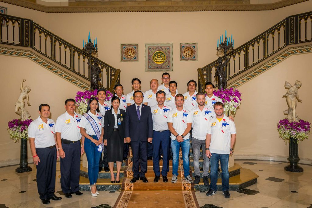 Prime Minister of Thailand with Miss Thailand at government house Bangkok